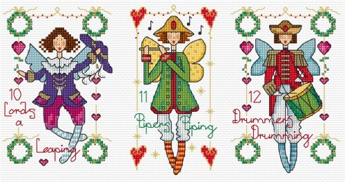 12 days of Christmas figures in cross stitch