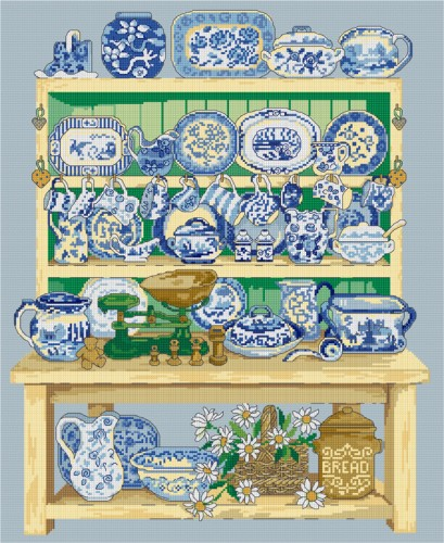 Cross stitch design of a painted dresser and china