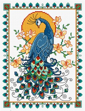 Cross stitch design of a beautiful peacock
