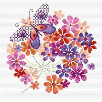 A modern floral and butterfly design in cross stitch