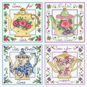 Four Vintage Tea pots in cross stitch