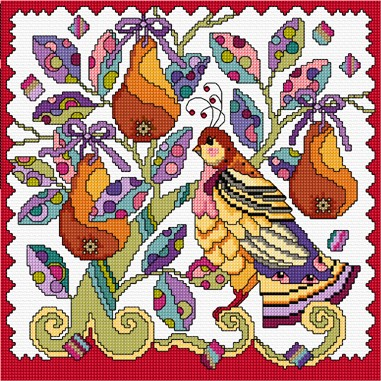 Decorative cross stitch design of the partridge in a pear tree