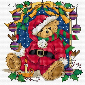 Bright and seasonal cross stitch Christmas teddy