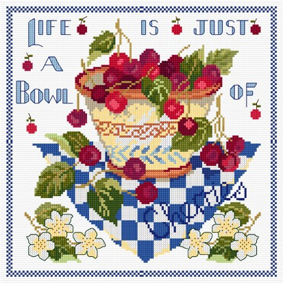 """Life is just a bowl of cherries"" in cross stitch"