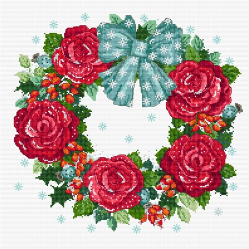 Try roses for an updated look for a cross stitch Christmas garland