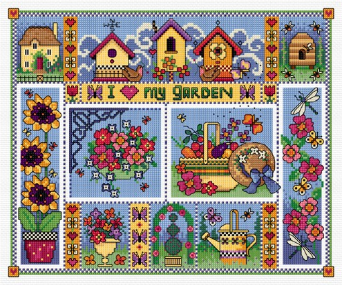 This cross stitch garden sampler is made up of small floral pictures