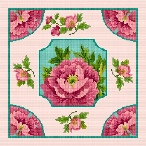 A pretty peony cushion in cross stitch