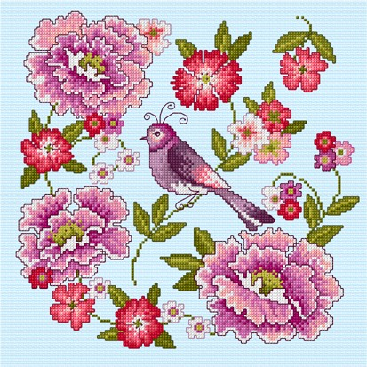 Combine flowers and the Orient with this pretty cross stitch design