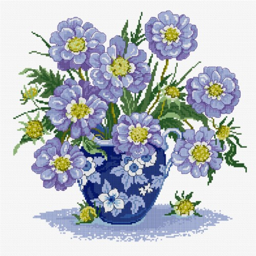 Cross stitch summer scabious in a dark blue oriental vase