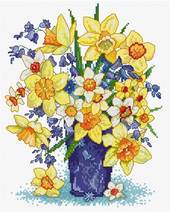 Bright and cheerful spring flowers in cross stitch