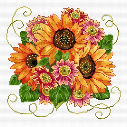 Bright and cheerful cross stitch sunflowers