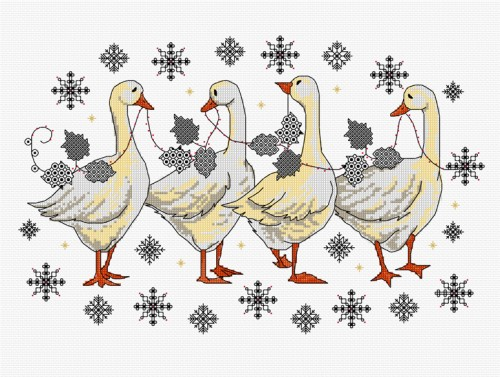 Blackwork and cross stitch Christmas geese