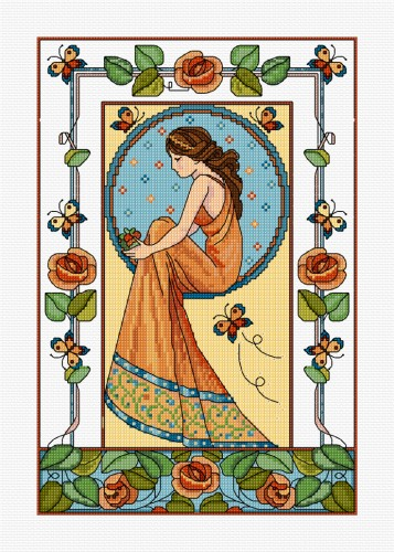 Cross Stitch Art Deco design of a lady with roses