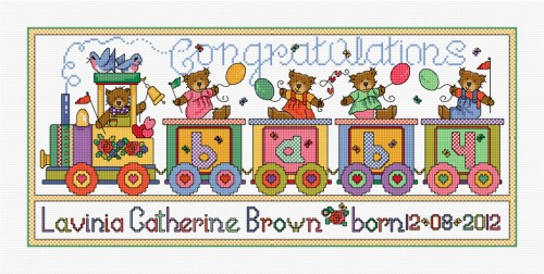 Cross stitch birth sampler