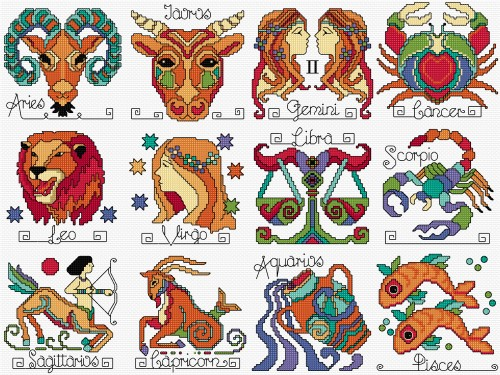 Zodiac signs in cross stitch