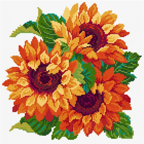 Sunflowers in cross stitch