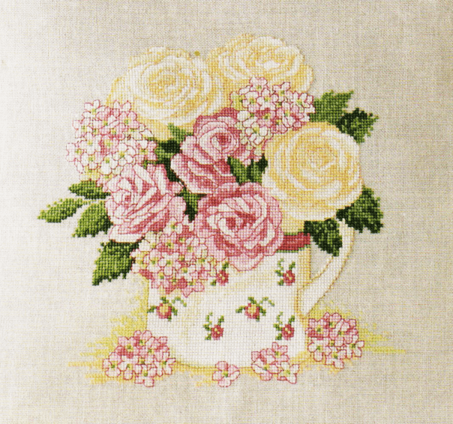 Cross stitch chart Water Can pattern Flower Garden Plant Carnations