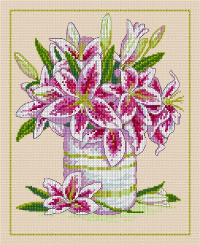 Cross stitched lilies