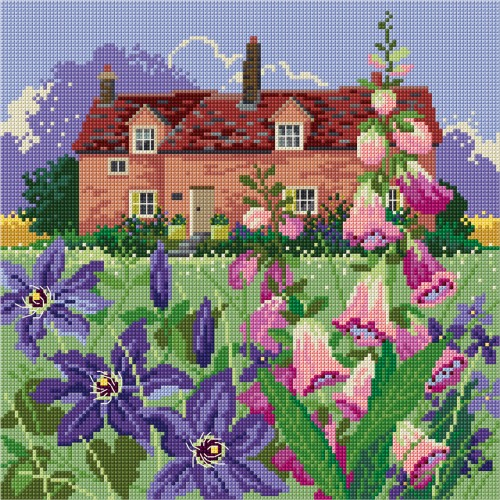 Cross Stitched Spring cottage