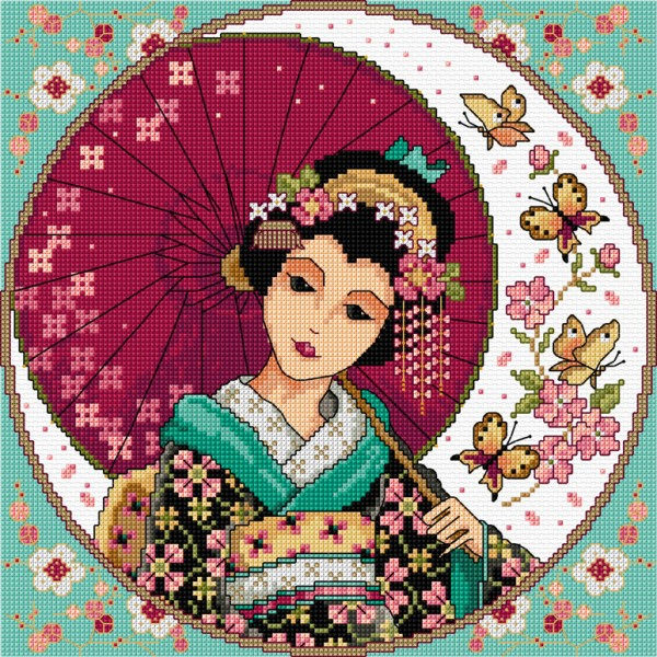 Cross stitch geisha