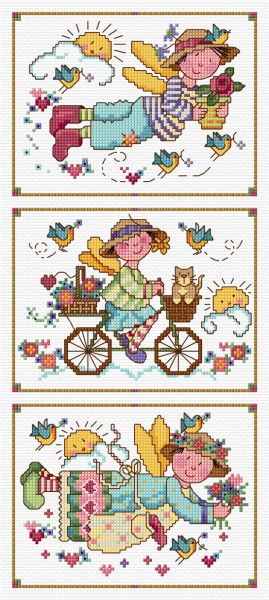 Folk art in cross stitch