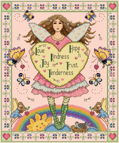 Folksy Valentine fairy in cross stitch