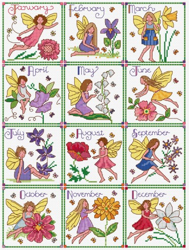 Cross stitch birthday fairies