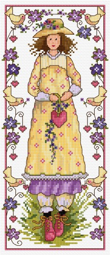 Valentine girl in cross stitch