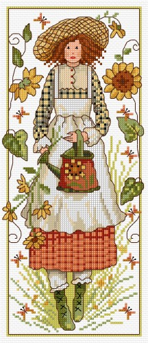 Cross stitch flower girl