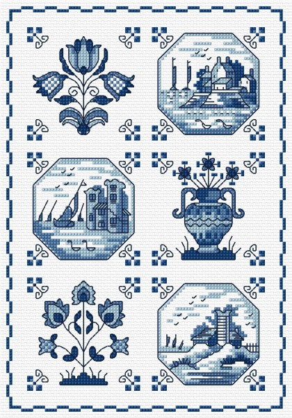 Cross stitch delft tiles
