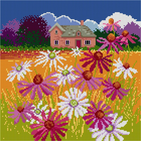 Cross stitched autumn cottage