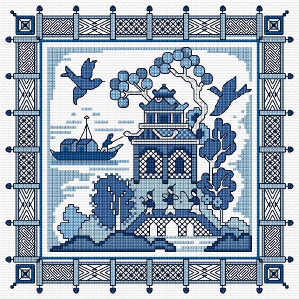 Cross stitch Willow pattern