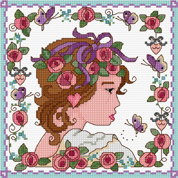 Cross stitch Art Nouveau  flower girl