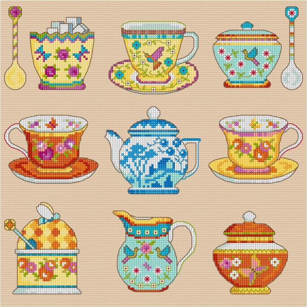 Cross stitch vintage china