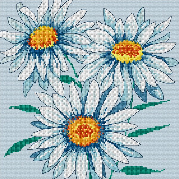 Flowers in cross stitch