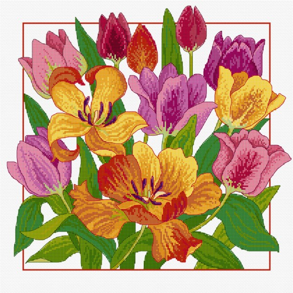 Cross stitched tulips