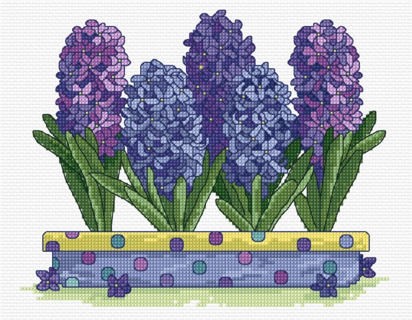 Cross stitch hyacinths
