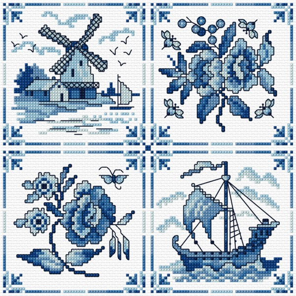 Cross stitch blue and white tiles