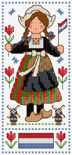 Cross stitch Dutch doll