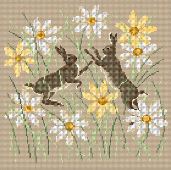 Cross stiched hares