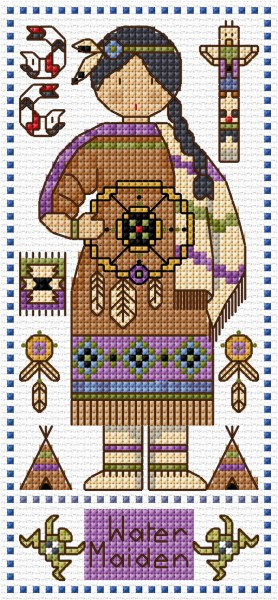 Cross stitch Canadian style doll