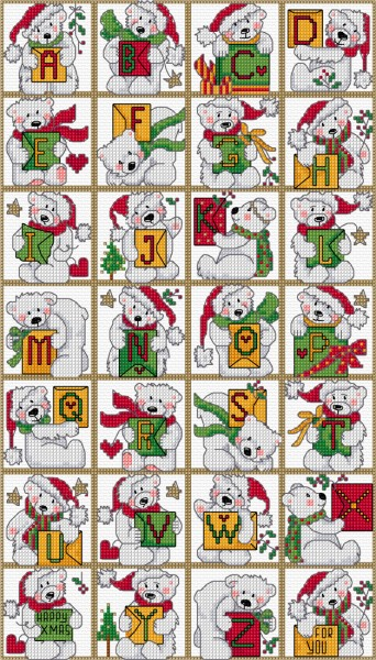 Cross stitch polar bear alphabet