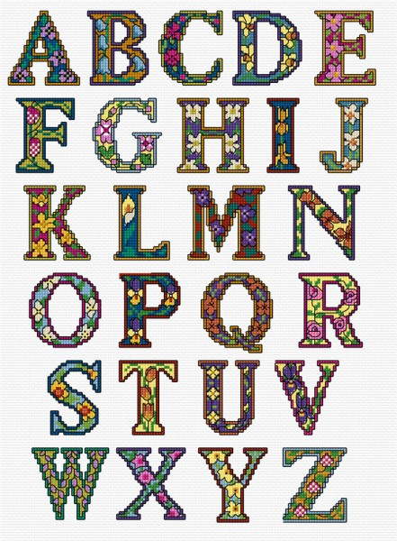 Cross stitch illuminated letters