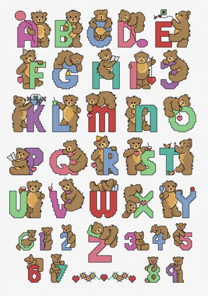 Cross Stitch alphabet bears