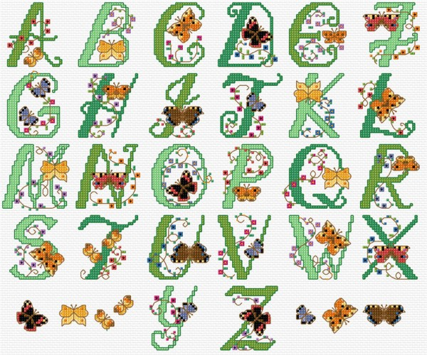Butterfly alphabet in cross stitch