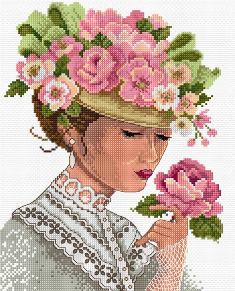 Cross stitch Victorian lady