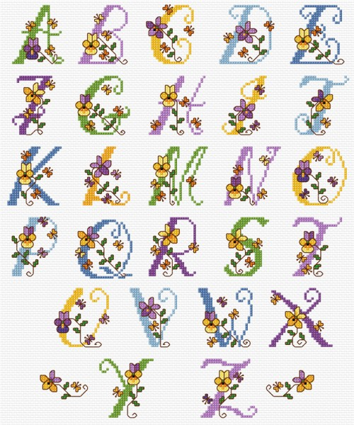 Cross stitch alphabet with pansies & violets