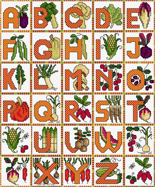 Cross stitch alphabet vegetables