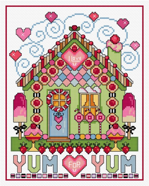 Cross stitch gingerbread house