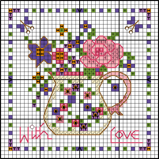 Floral cross stitch card chart